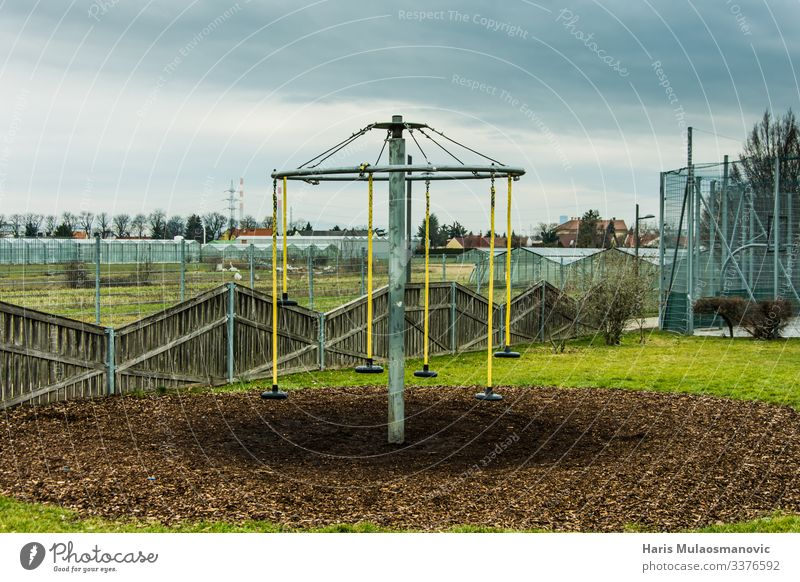 empty abandoned children playground on sunday Earth Climate Garden Park Small Town Gloomy Solidarity Inspiration Solitary Loneliness Abandon Playground
