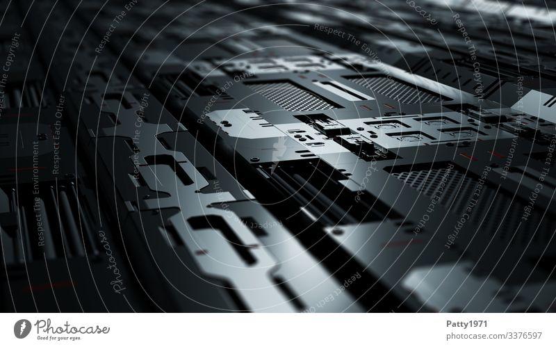 Tech Perspective - 3D Render Computer Hardware Technology High-tech Industry Dark Sharp-edged Glittering Gray Black Silver Complex Precision Surrealism Symmetry