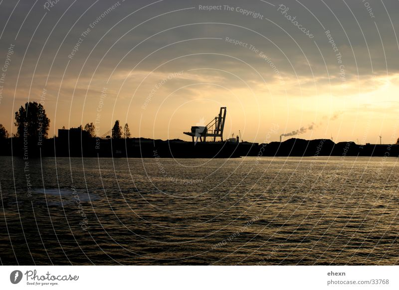 AMsterdam Industry Skyline, Amsterdam Industrial Photography Clouds Sunset Horizon Water cranes Logistics Crossing River