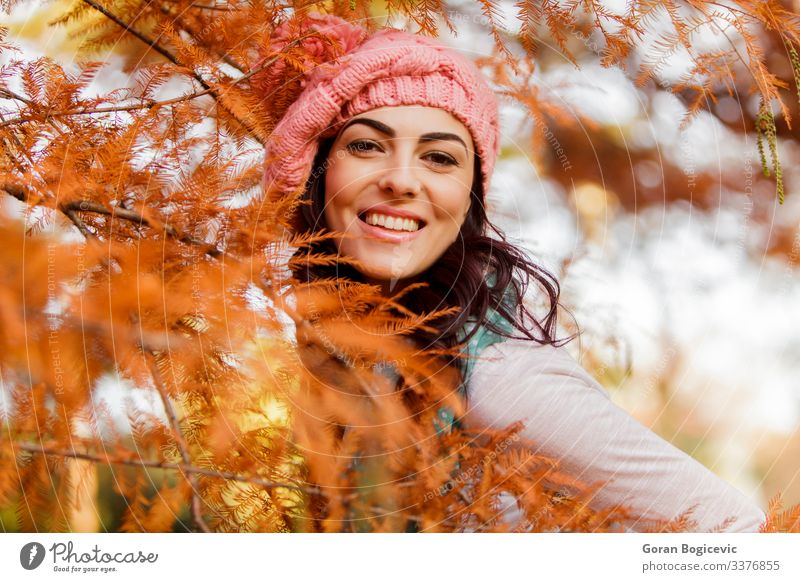 Young woman at autumn forest Lifestyle Style Happy Beautiful Face Human being Youth (Young adults) Woman Adults 1 18 - 30 years Nature Autumn Tree Leaf Park