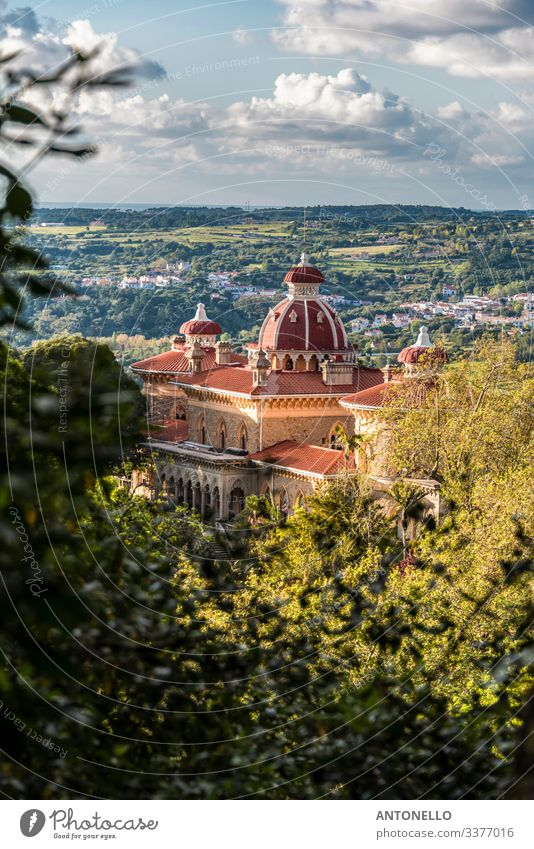Panorama with the Monserrate palace in the Sintra region Elegant Vacation & Travel Tourism Summer Architecture Environment Landscape Plant Sky Clouds Tree