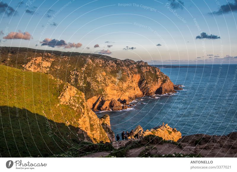 The Atlantic coast south of Cabo da Roca at sunset Vacation & Travel Tourism Summer Ocean Environment Nature Landscape Water Sky Clouds Horizon Spring Coast