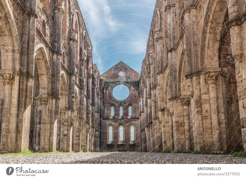 Interior view of the Abbey of San Galgano Vacation & Travel Tourism Art Architecture Sky Clouds Spring chiusdino Siena Tuscany Italy Europe Village Church Dome