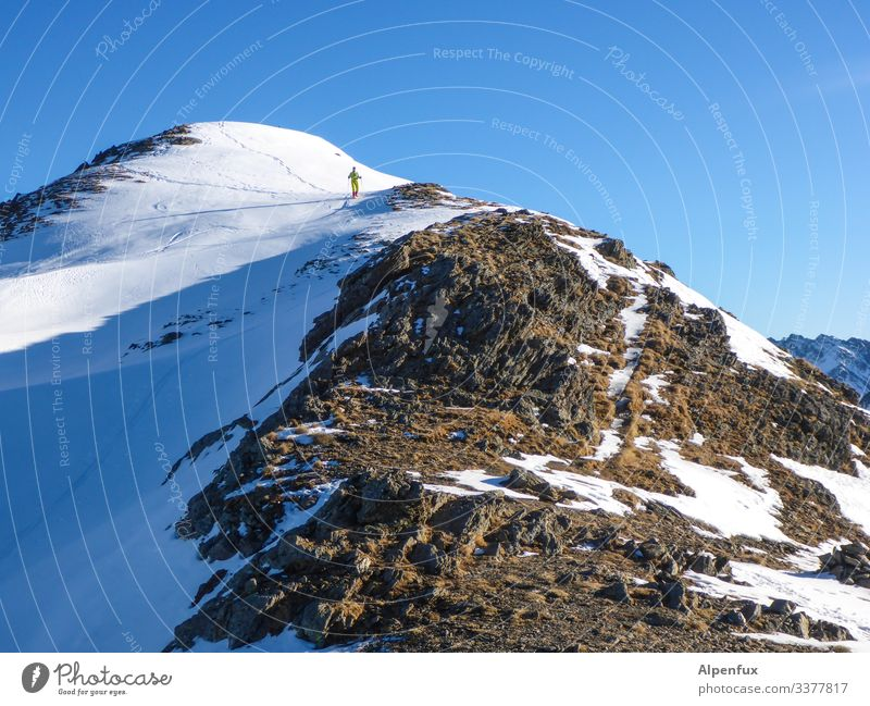 a dwarf goes up the mountain ... | climate change Mountaineering Climbing Sky Alps Peak Hiking Exterior shot Rock Snowcapped peak Nature Landscape Colour photo