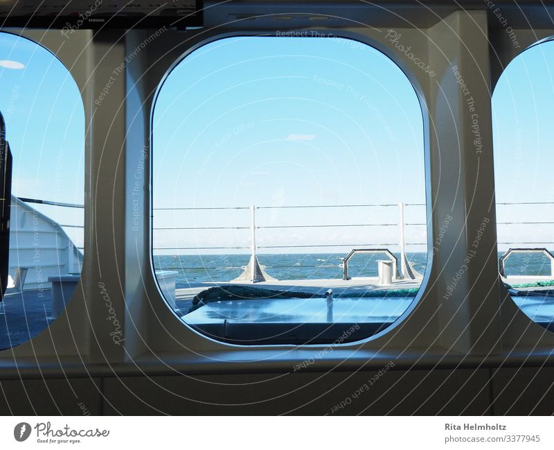 View of the sea Vacation & Travel Tourism Adventure Far-off places Cruise Ocean Navigation Passenger ship Watercraft Porthole On board Catamaran Discover