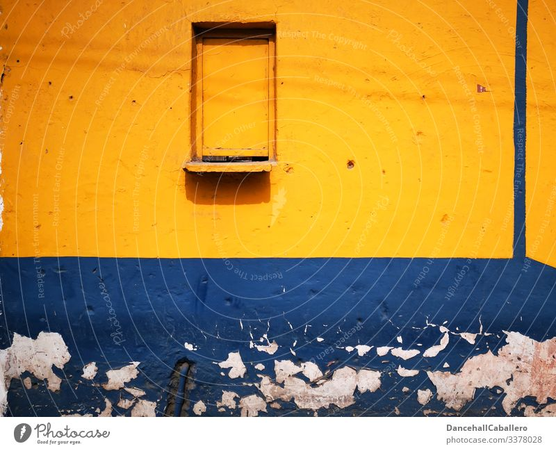 blue yellow wall with a closed window Wall (building) Wall (barrier) Window Old Facade Architecture Closed Gloomy Building Broken Flake off Blue Yellow