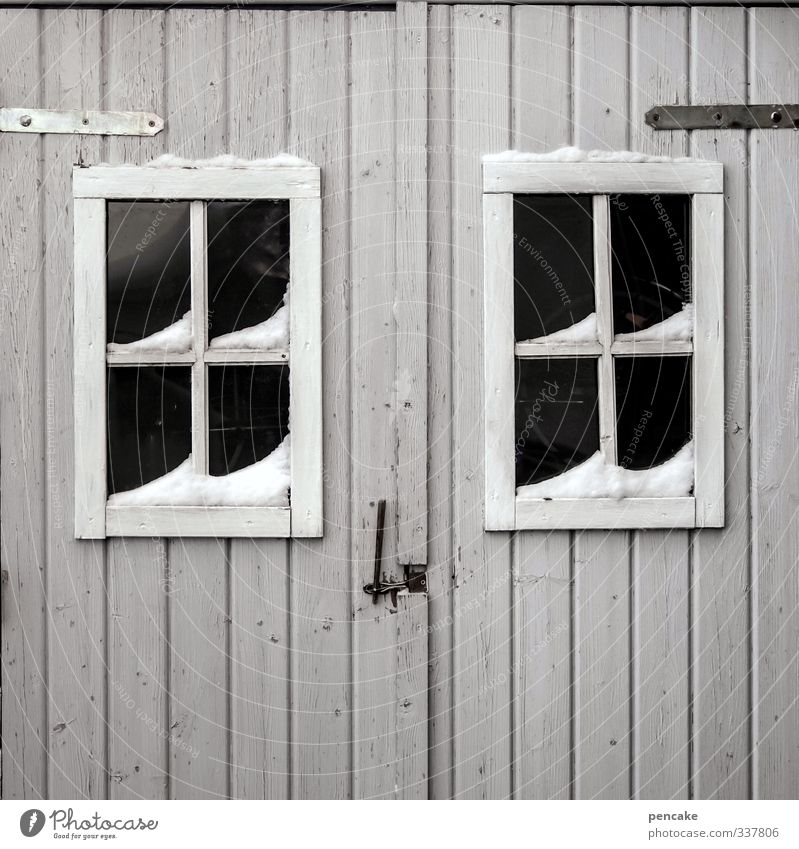Look who's here. Hut Facade Window Door Wood Sign Authentic Simple Gray Secrecy Winter Lattice window Looking Mistrust Mysterious Wooden hut Subdued colour
