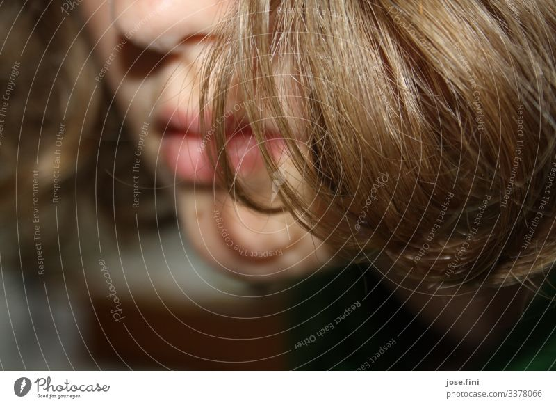 hair in front of a young girl's face, detail of nose, mouth, chin Girl Face partial portrait Flash photo Mouth Nose Chin Mole Hide Timidity wordless