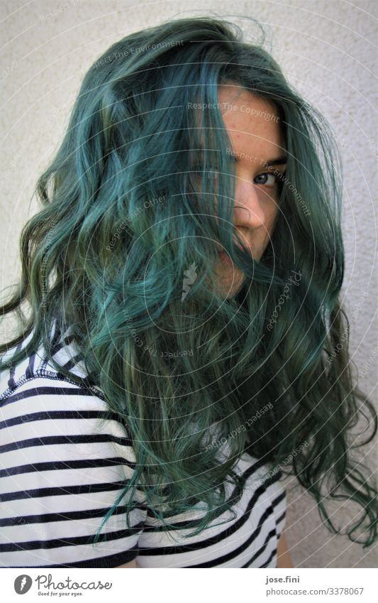 Teenagers with blue hair Lifestyle Style University & College student Feminine Young woman Youth (Young adults) Hair and hairstyles Long-haired Authentic