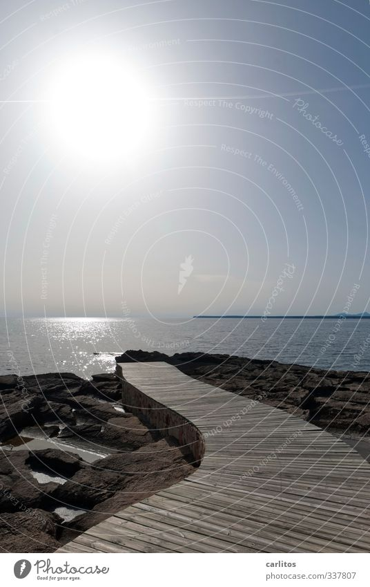 by hook or by crook Environment Nature Elements Earth Air Water Cloudless sky Sun Summer Beautiful weather Warmth Rock Waves Coast Ocean Esthetic Horizon