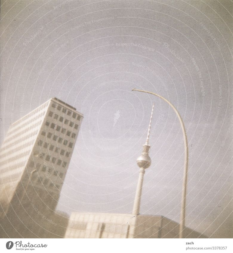 analogue representation of the television tower at Alexanderplatz in Berlin Holga Lomography Sky Analog Slide Deserted Scan Town Exterior shot Berlin TV Tower