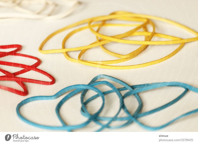 Snap rubbers Playing Decoration Elastic band rubber ring Elastic hairband Lie Thin Multicoloured Joy Design Colour Inspiration Creativity Arrangement