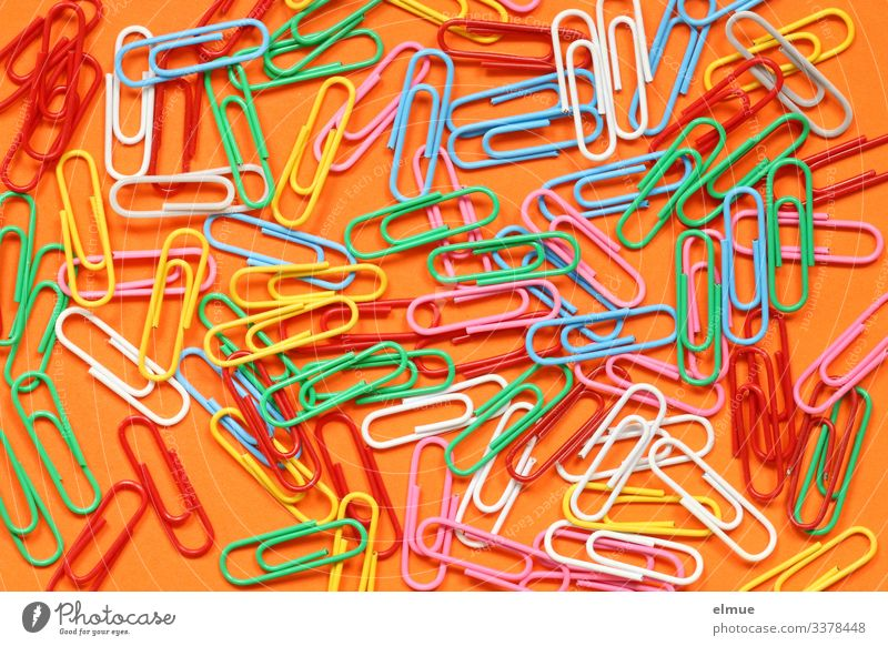 colored paperclips paper clip variegated Colour Many colourful Interior shot Orange Office work aids Bend Joy full-frame image Collection Design creatively
