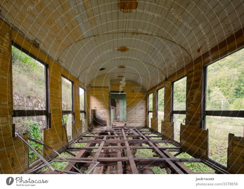 Lost journey to a forgotten place through green landscapes Train Track ghost train Loneliness Decline Transience Old Broken Subdued colour Past Wide angle