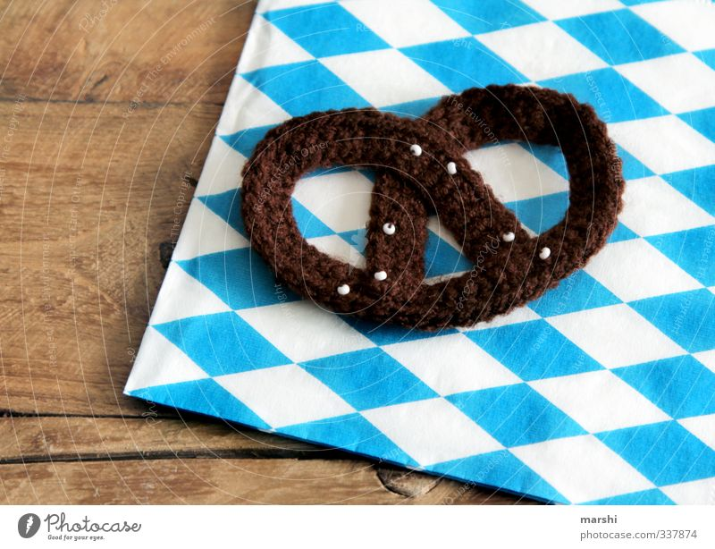 Brezn - baked with love Food Nutrition Eating Leisure and hobbies Living or residing Blue Brown White Pretzel Bavarian Brunch Wool Crocheted