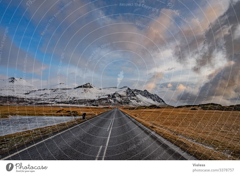 Iceland, Ring Road, snow, Belt highway Snow mountains Street Direct Frozen Clouds infinitely Nature Mountain Landscape Frost Blue Deserted Natural