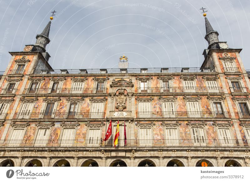 Decorated facade at the Palza Mayor, Madrid, Spain. Luxury Life Vacation & Travel Tourism Flat (apartment) House (Residential Structure) Decoration Town