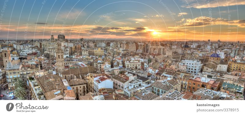 Sunset Over Historic Center of Valencia, Spain. Vacation & Travel Tourism Sightseeing House (Residential Structure) Landscape Sky Horizon Town Skyline Church