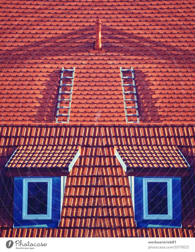 Window up climber - fineart scenery House (Residential Structure) Climbing Mountaineering Architecture Exceptional Surrealism Symmetry window roof rooftop