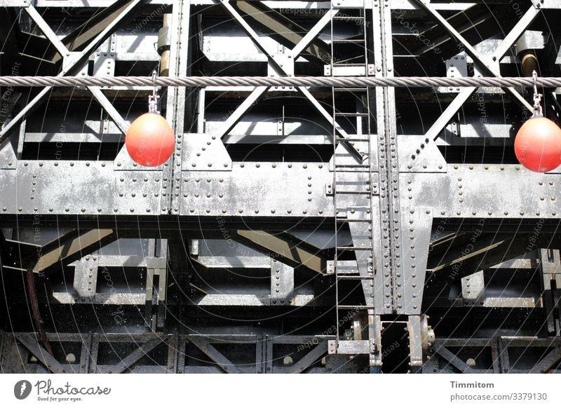 sluice Technology Transport Navigation Inland navigation Floodgate Metal Plastic Line Large Cold Gray Red Black Emotions Ladder metal struts Rivet Function