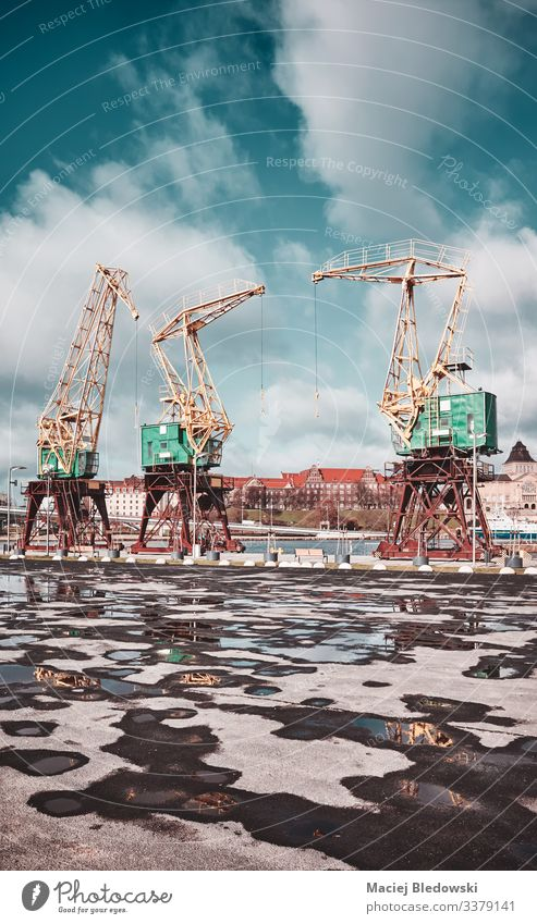 Port cranes on Szczecin Lasztownia island, color toning applied, Poland. szczecin port industrial asphalt puddle vintage filtered effect city sky sunny Europe