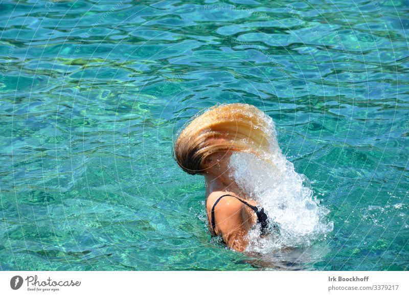 Hair flinging with water drops in the pool Joy Hair and hairstyles Well-being Swimming pool Vacation & Travel Summer Sun Aquatics Swimming & Bathing Dive