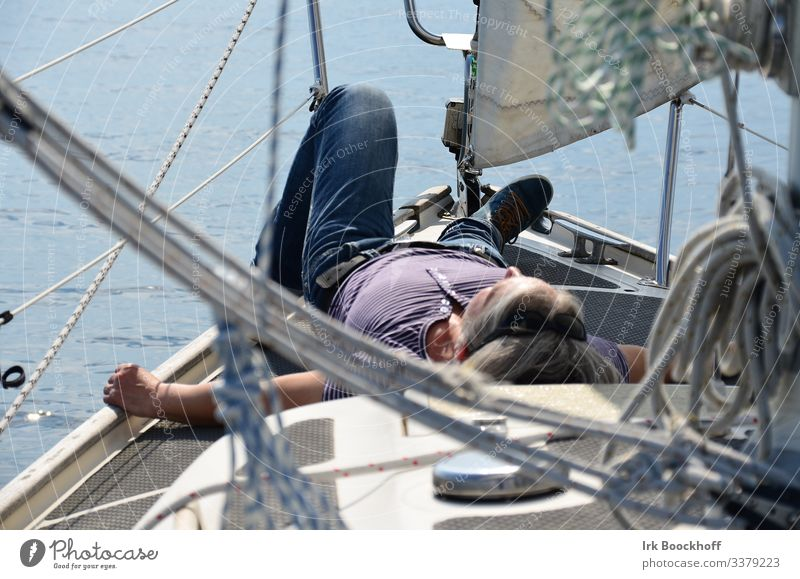 Chilling on board Well-being Contentment Relaxation Calm Sailing Trip Summer Summer vacation Sunbathing Feminine 1 Human being Baltic Sea Sailboat Sailing ship