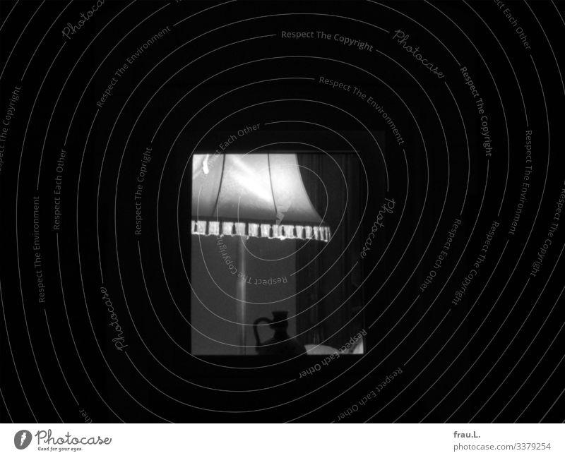 skylight Living or residing Flat (apartment) House (Residential Structure) Lamp Living room Attic Illuminate Vase Black & white photo Exterior shot