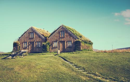 Semi-detached house Living or residing Flat (apartment) House (Residential Structure) Environment Nature Sky Clouds Grass Meadow Hut Window Roof Lanes & trails