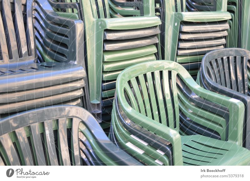 stacked plastic chairs in monochrome colours Style Design Chair Garden chair Plastic chair Relaxation Sit Blue Green Monochrome Subdued colour Reflection