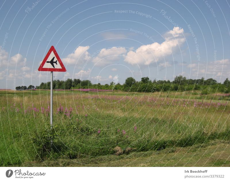 airstrip Flying Aviation Landscape Beautiful weather Airfield Village Deserted Runway Sign Signs and labeling Signage Warning sign Road sign Funny Adventure