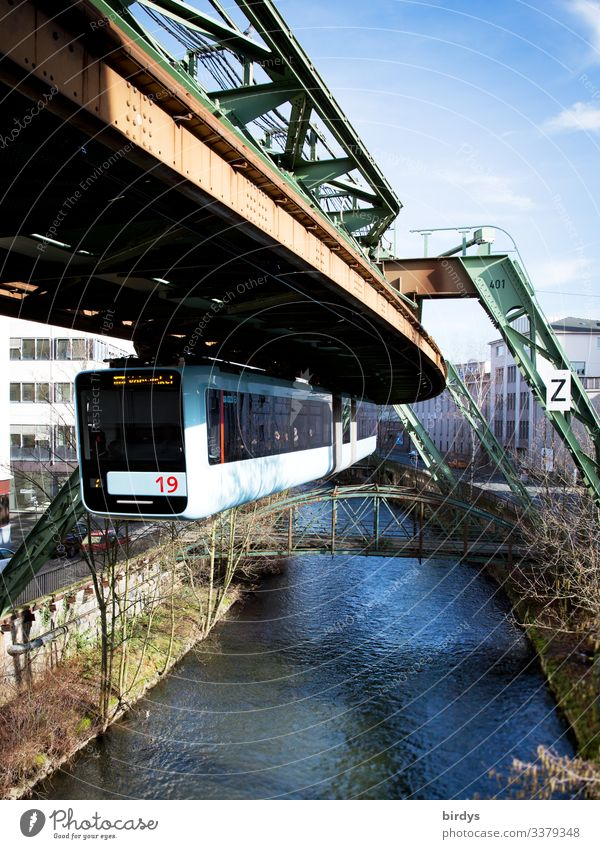 over the Wupper City trip Spring River Wuppertal Transport Public transit Suspension railway Driving Authentic Success Above Town Acceptance Dependability