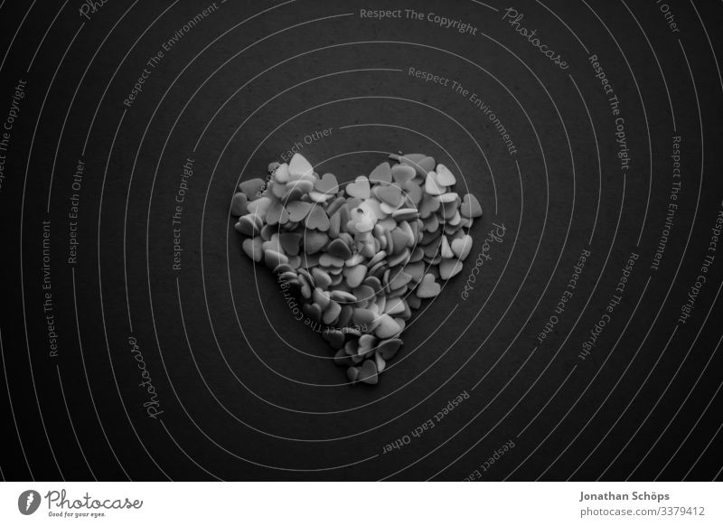 Hearts in the shape of a heart in black and white Abstract black background dark fashion date Date plan Eroticism Joy Spring fever Emotions Love Lovers macro