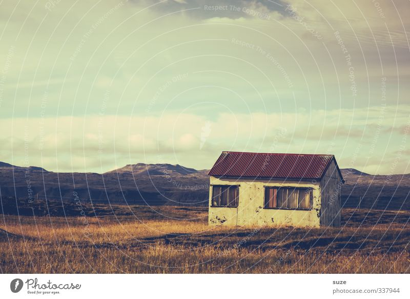 Sky Nature Old Beautiful Loneliness Landscape Clouds House (Residential Structure) Far-off places Window Meadow Grass Freedom Horizon Exceptional Facade