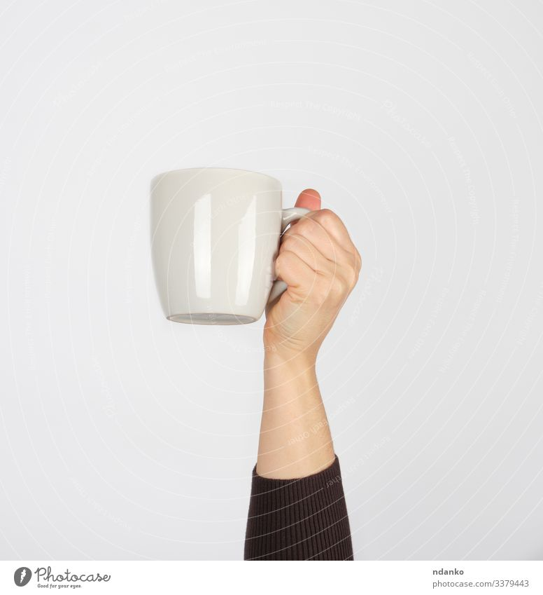 white ceramic cup in a female hand Breakfast Lunch Beverage Coffee Espresso Tea Design Kitchen Human being Woman Adults Arm Hand Fingers Container Hot Brown