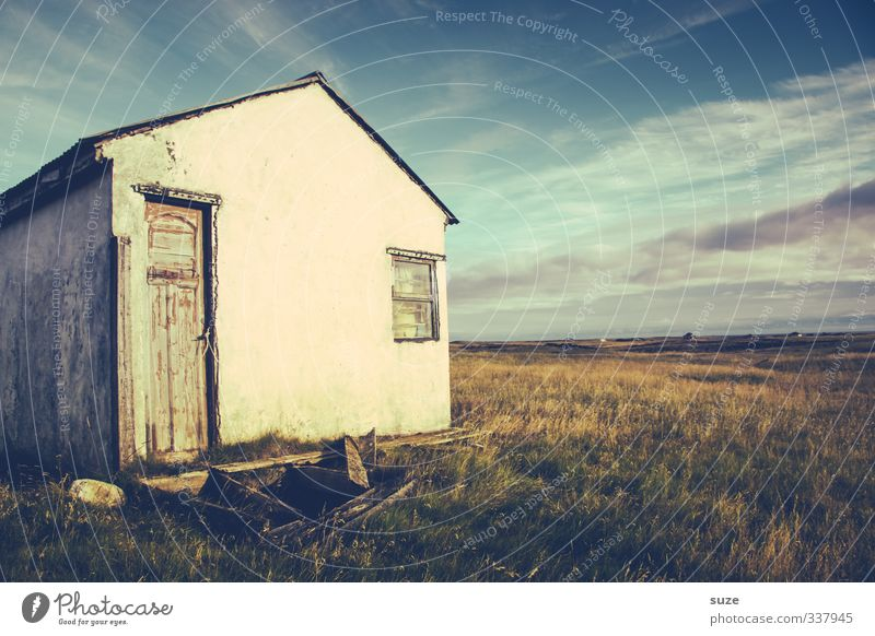 Sky Nature Old Summer Loneliness Landscape Clouds House (Residential Structure) Environment Window Meadow Death Sadness Grass Horizon Facade