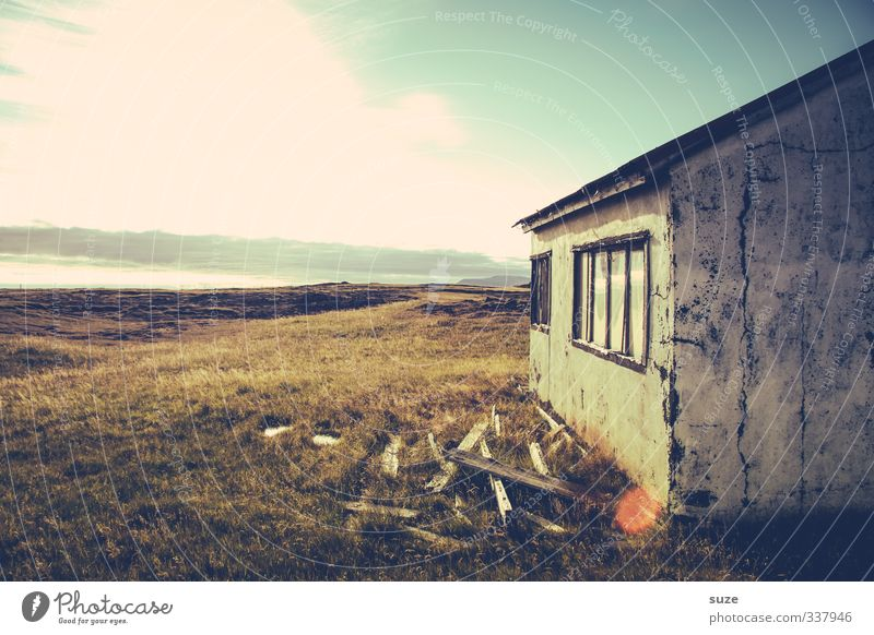 Ephemeral Summer House (Residential Structure) Environment Nature Landscape Sky Clouds Horizon Beautiful weather Grass Meadow Hut Ruin Facade Window Sadness Old