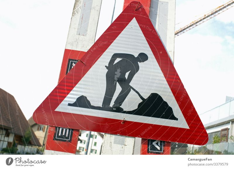 work Village Transport Road traffic Signs and labeling Road sign Effort Working man Work and employment everyday life roadman Colour photo Exterior shot
