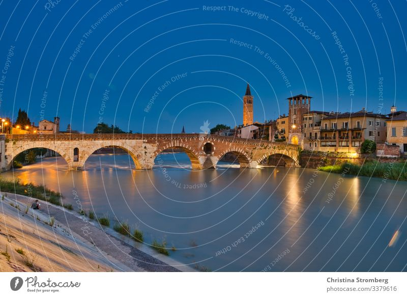 Verona by night adige architecture cityscape culture destinations europe European evening illuminated Italian italy old panoramic ponte romantic scene town