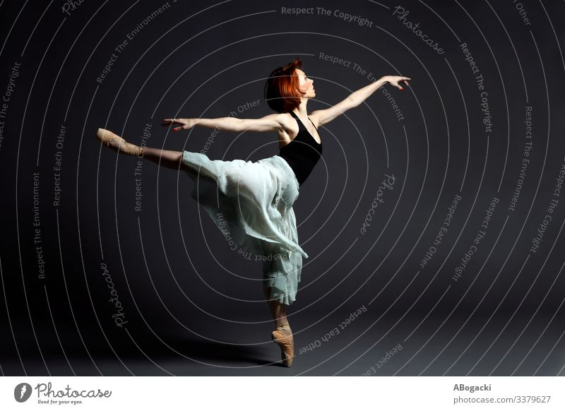 Female ballet dancer with vintage skirt in expressive dancing pose action adult art artist artistic balance ballerina dynamic fashion flexible girl human one