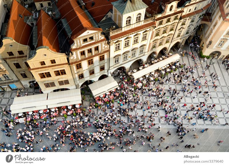 Prague Old Town Square Aerial View In Czechia above aerial architecture cathedral center city cityscape crowd czech europe famous high historical house medieval
