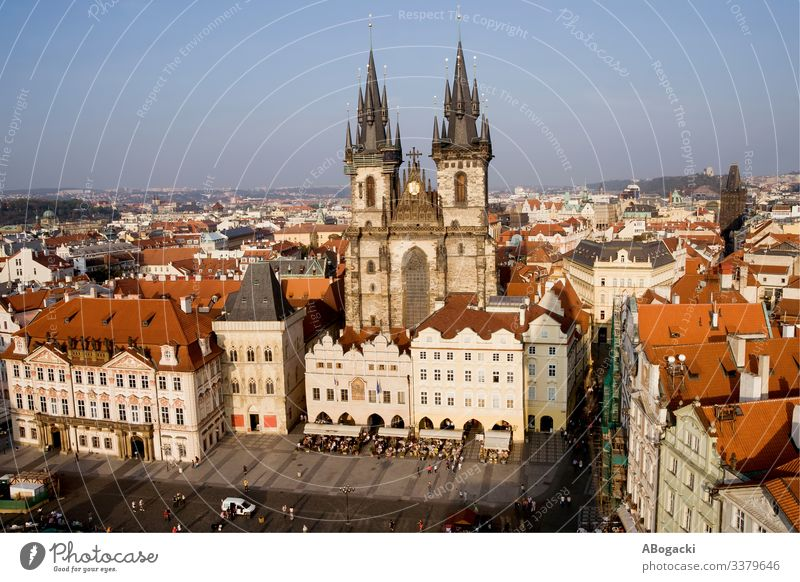 Old Town in City of Prague in Czechia above architecture baroque building capital cathedral center church city cityscape culture czech destination europe famous