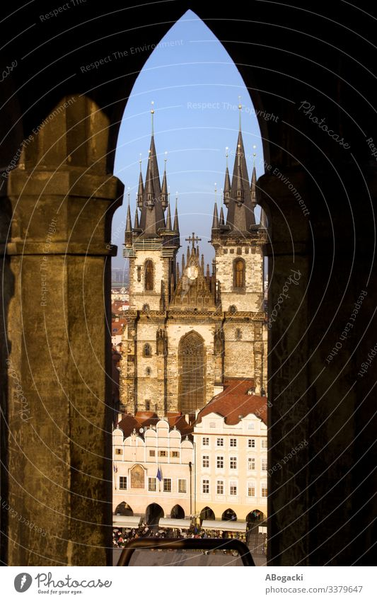 Tyn Cathedral In Prague From Town Hall Tower architecture baroque building capital cathedral center church city cityscape culture czech destination europe