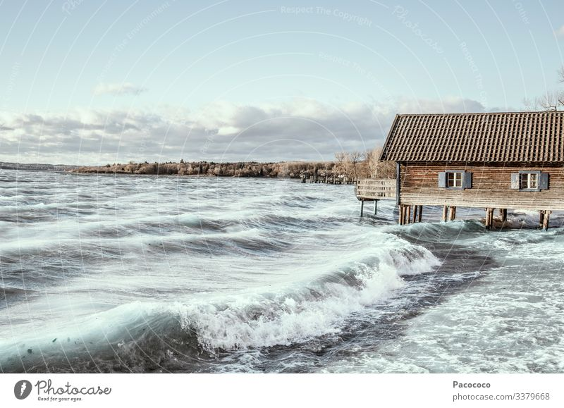 Storm at Ammersee Tourism Waves Aquatics Kiting Surfing windsurfing Landscape Lakeside Lake Ammer Blue Turquoise Moody Colour photo Exterior shot