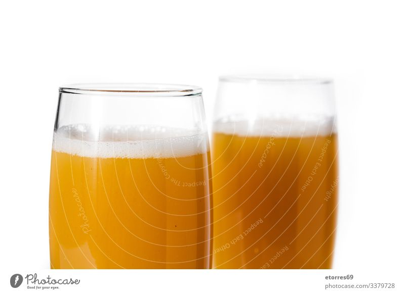 Bellini champagne cocktail in glass isolated on white background alcohol apricot bellini beverage brandy bubble classic delicious drink fresh fruit juice mimosa