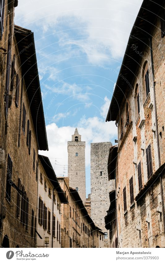 Vacation & Travel Tourism Trip Sightseeing City trip Architecture San Gimignano Tuscany Italy Europe Old town Castle Tower Building Tourist Attraction Looking