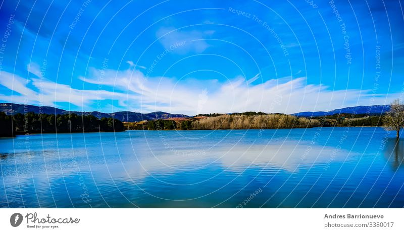 Vacation & Travel Wallpaper Nature Landscape Sky Clouds Horizon Climate Forest Lake Blue White Loneliness Idyll solitude water tranquil scene backgrounds