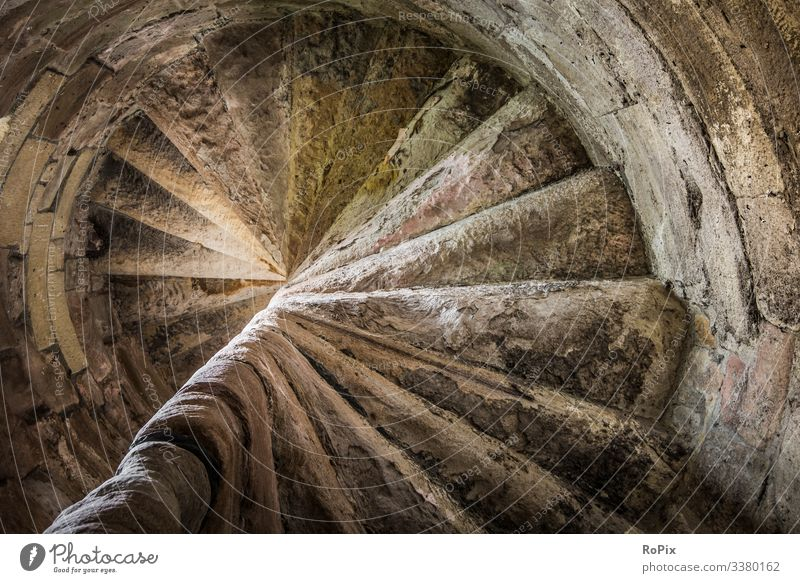 Spiral staircase in a medieval castle. Lifestyle Style Wellness Senses Relaxation Vacation & Travel Tourism Sightseeing City trip Living or residing Art