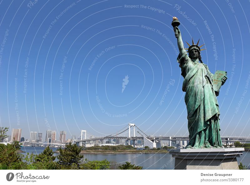Statue of Liberty and the Rainbow Bridge in Odaiba, Tokyo Vacation & Travel Tourism Far-off places Freedom Sightseeing City trip Summer Human being