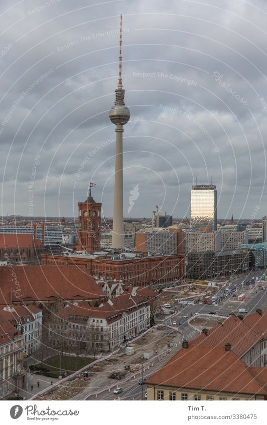 Berlin Mitte Middle Television tower tv tower Rotes Rathaus 2020 Sky Clouds cityscape Skyline Town Berlin TV Tower Alexanderplatz Downtown Berlin Architecture